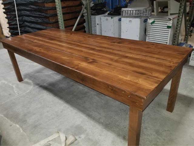 rustic wood farm table for rent