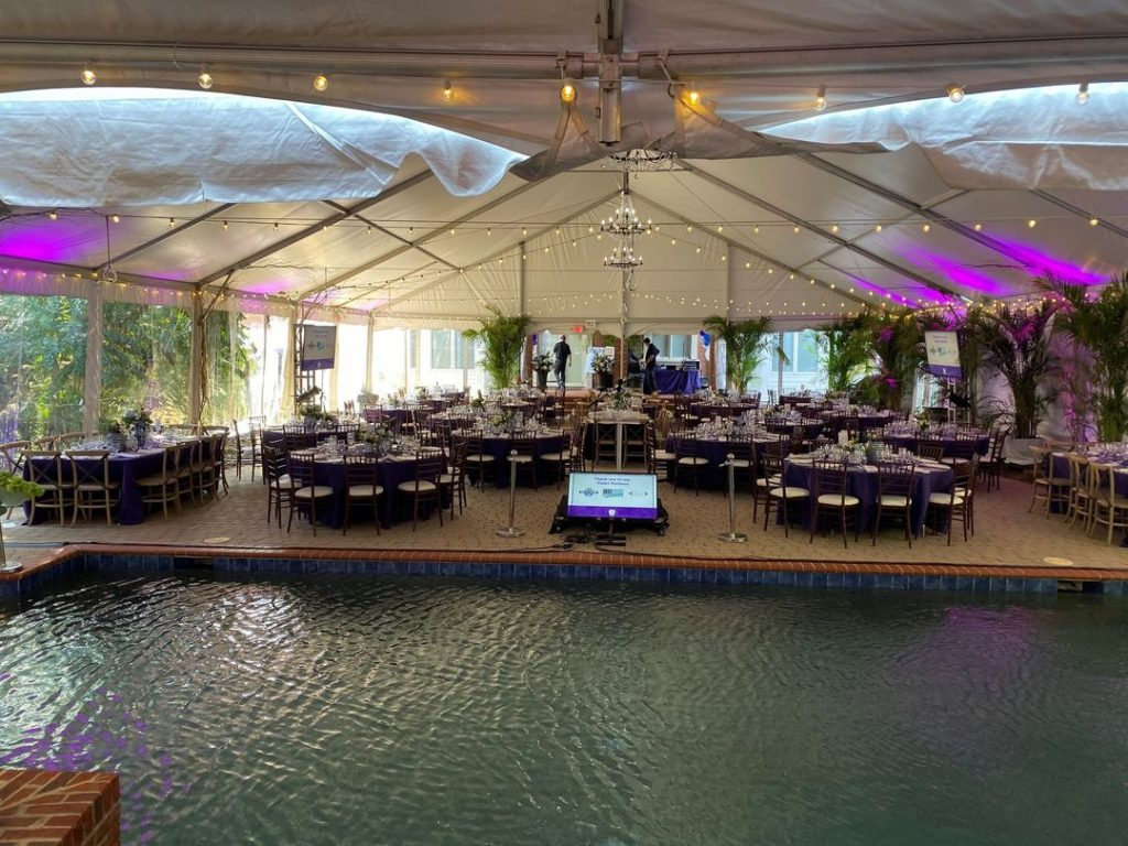 white wedding tent with clear siding