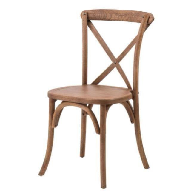 rustic sonoma crossback chair for rent