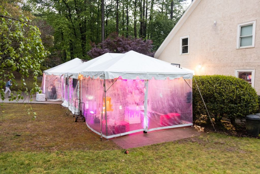clear sided tent for backyard birthday